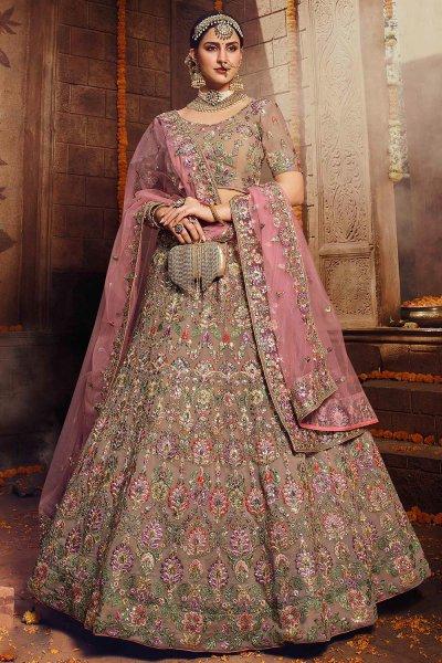 Brown and Pink Georgette Zari Embroidered Lehenga Choli