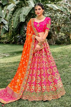 Pink Silk Embroidered Lehenga Choli