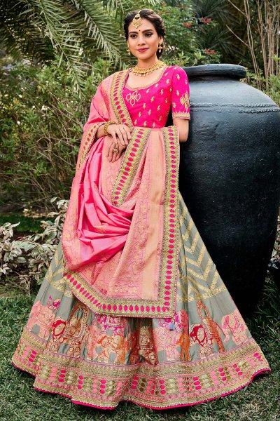 Grey and Pink Silk zari Embroidered Lehenga