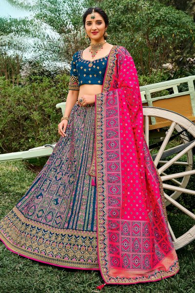 Blue Silk Embroidered Lehenga Choli