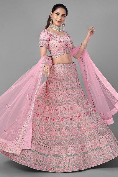 Pink Embroidered Net Lehenga Choli