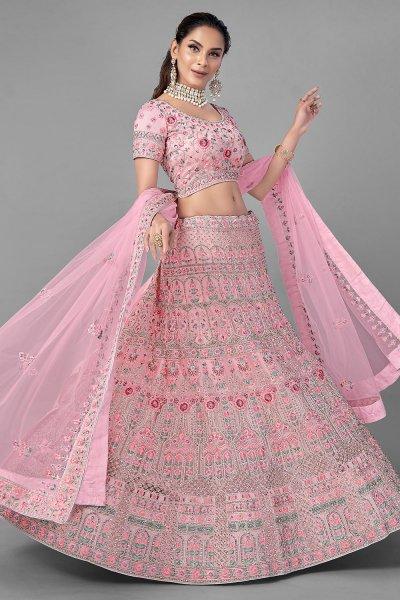 Pink Embroidered Net Lehenga Choli