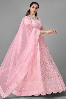 Pink Embellished Net Lehenga Choli