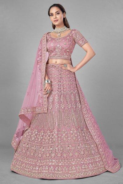 Dusky Pink Gota Embellished Net Lehenga Choli