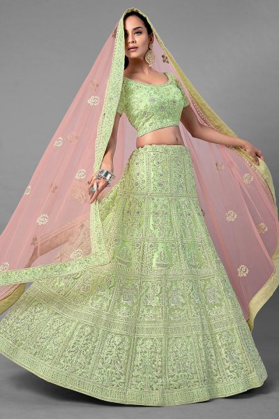 Green Resham Embroidered Lehenga Choli