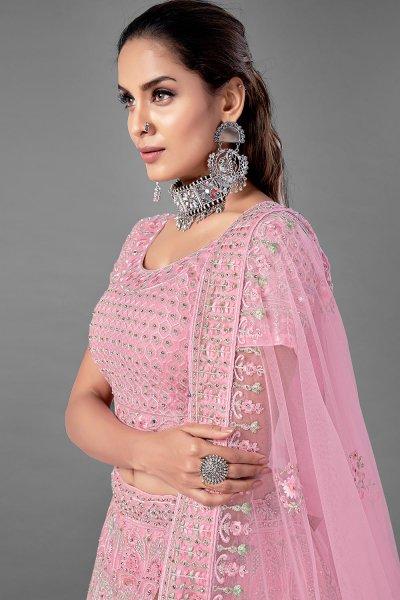 Pink Zarkan Embellished Net Lehenga Choli