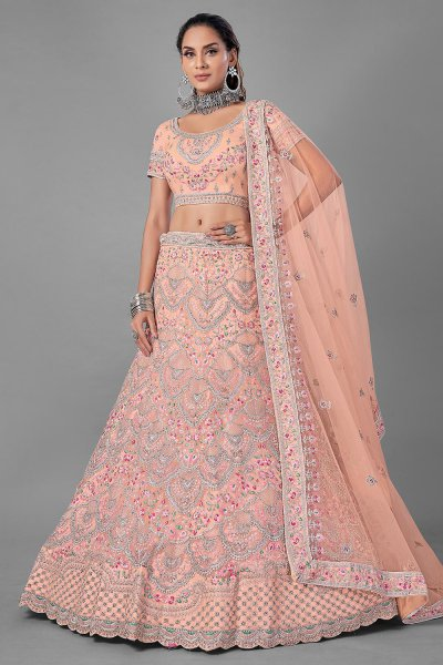 Peach Resham Embroidered Net Lehenga Choli