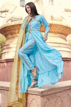 Blue Embroidered Front Slit Suit