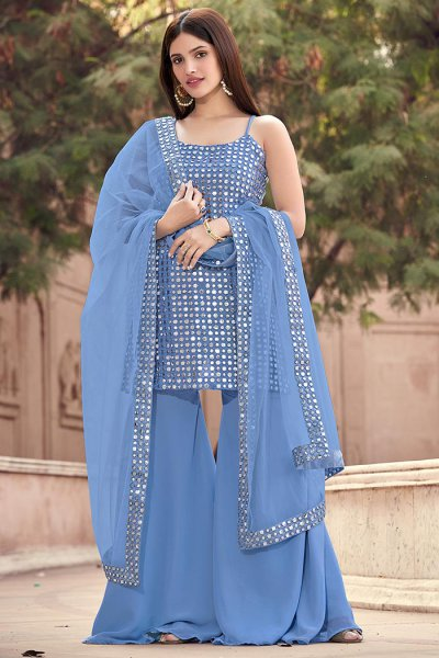Powder Blue Georgette Sharara Suit