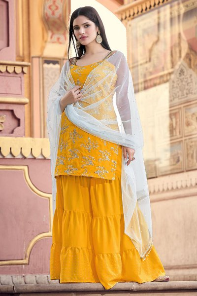 Yellow Zari Embroidered Sharara Suit