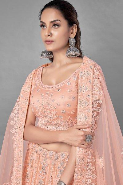 Peach Zarkan Embellished Net Lehenga Choli
