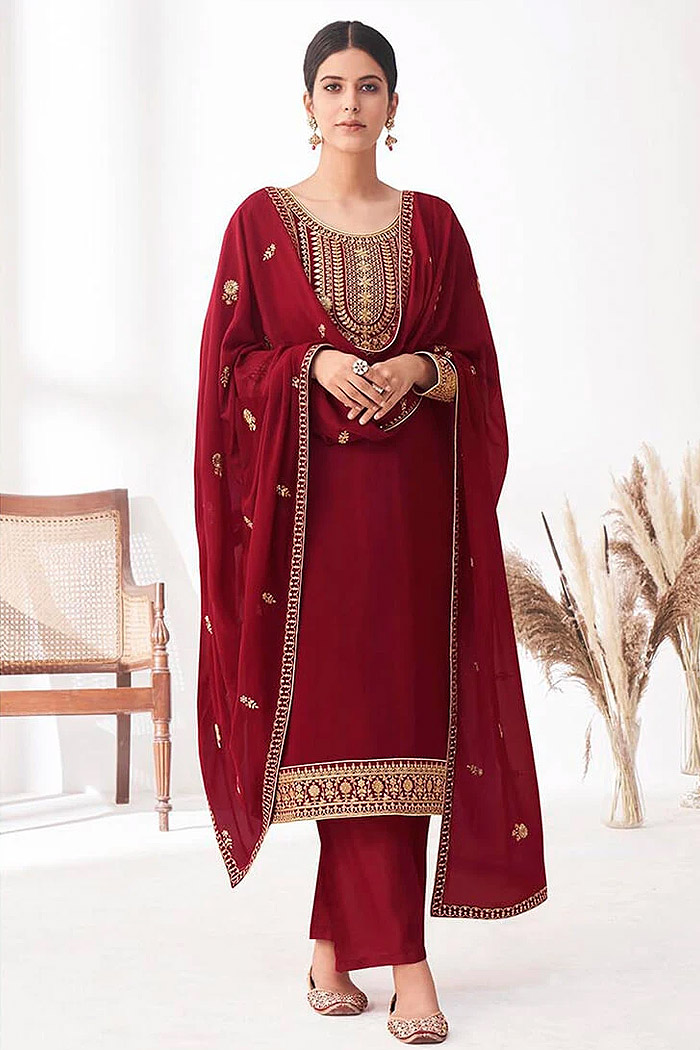 Maroon Embroidered Georgette Palazzo Suit