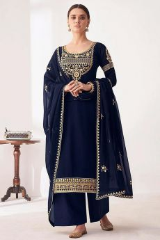 Navy Blue Embroidered Georgette Palazzo Suit