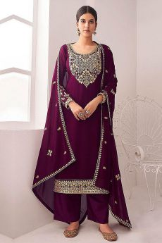 Plum Embroidered Georgette Palazzo Suit