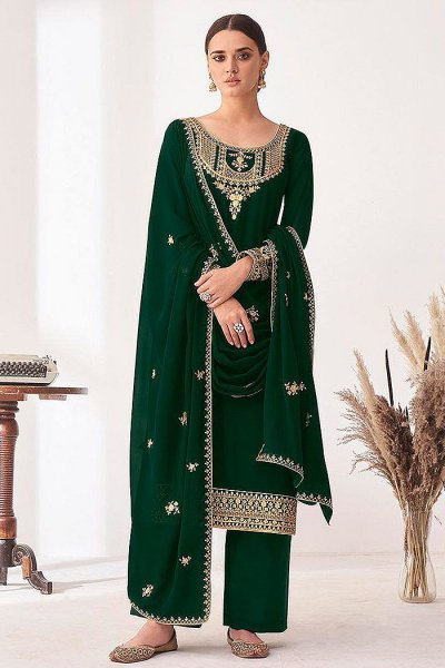Bottle Green Embroidered Georgette Palazzo Suit