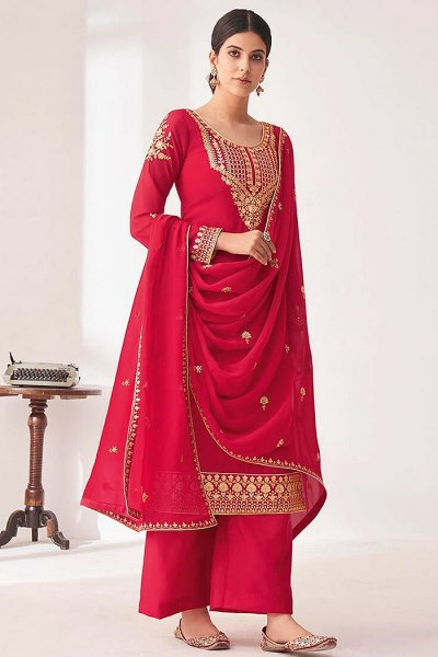 Crimson Embroidered Georgette Palazzo Suit