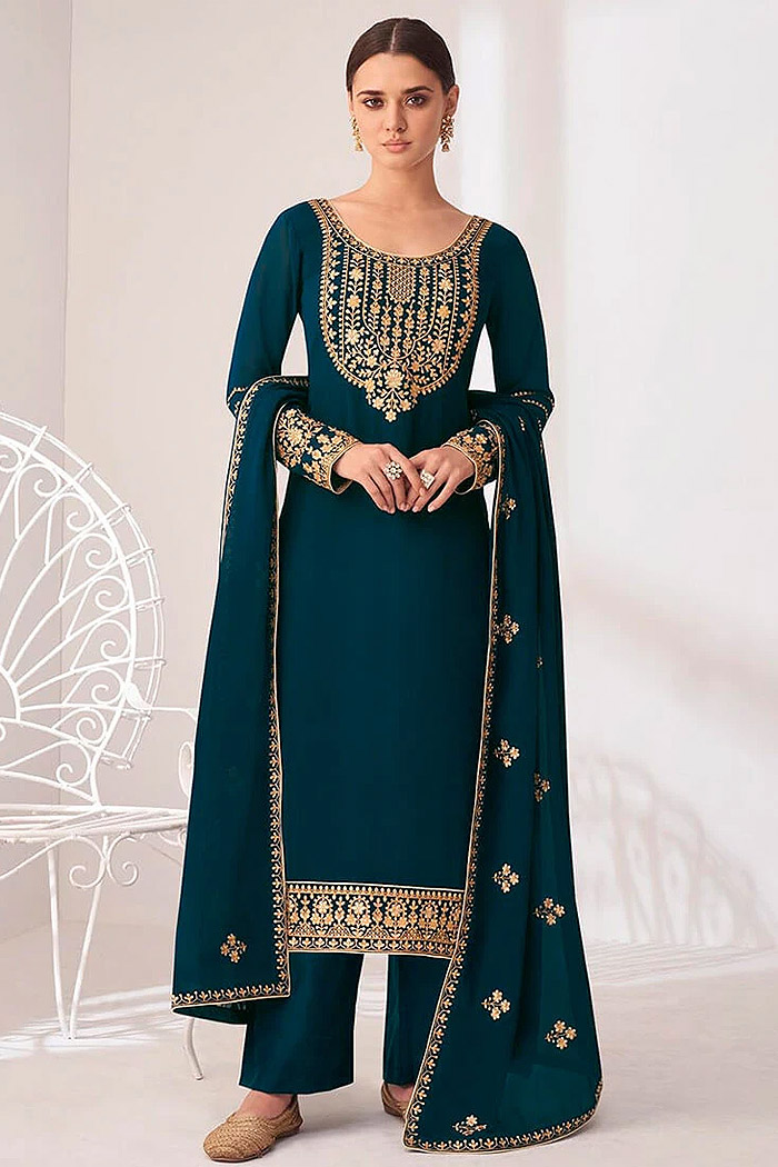 Teal Embroidered Georgette Palazzo Suit