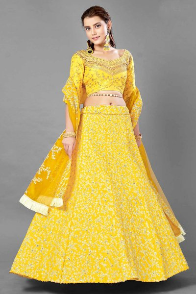 Yellow Zari Embroidered Silk Lehenga Choli