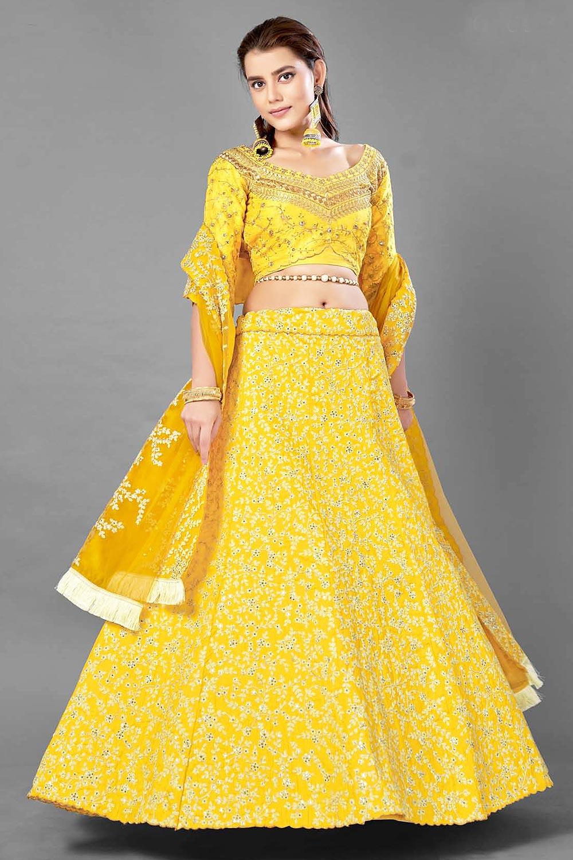 Yellow Zari Embroidered Silk Lehenga Choli