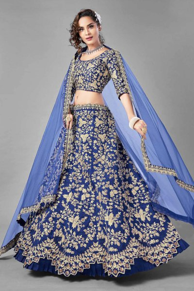 Blue Zari Embroidered Silk Lehenga Choli
