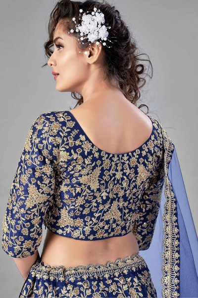 Blue Zari Embroidered Silk Lehenga Choli