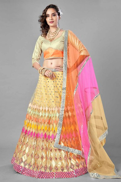 Multicolored Mirror Foil Embellished Lehenga Choli