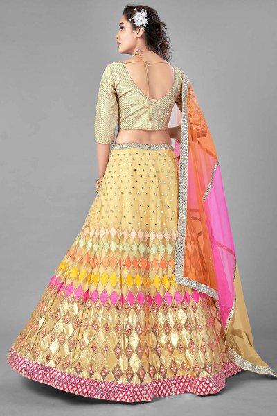 Multicolored Mirror Foil Embellished Lehenga Choli