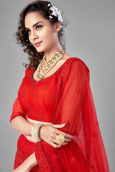 Red Embroidered Net Lehenga Choli