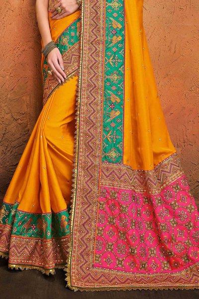 Kutch Embroidered Mustard Satin Silk Saree