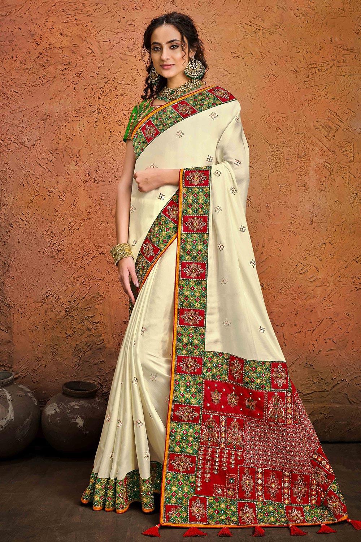 Off White Kutchi Embroidered Satin Silk Saree