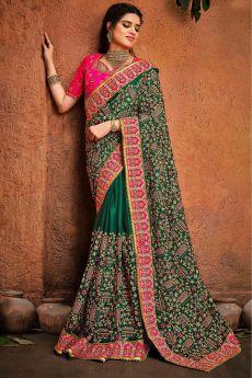 Bottle Green Party Wear Embroidered Satin Silk Saree