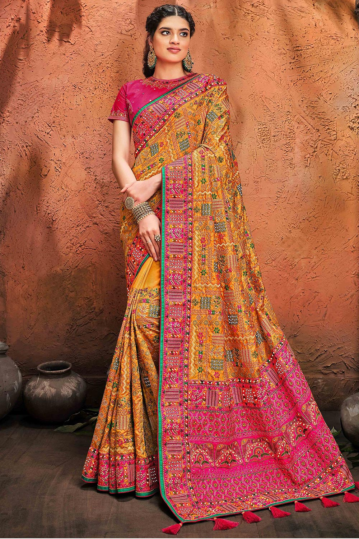Kutchi Embroidered Mustard Party Wear Satin Silk Saree
