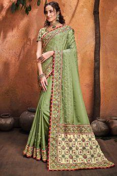 Kutchi Embroidered Light Olive Green Satin Silk Saree