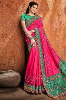 Pink Party Wear Satin Silk Saree