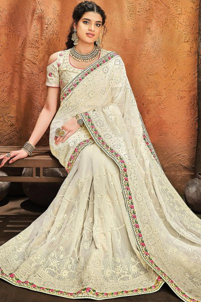 Off White Pure Georgette Lucknowi Party Wear Saree