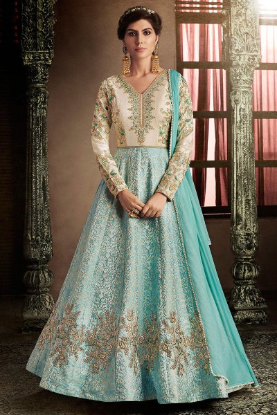 Light Blue Brocade Silk Anarkali Suit