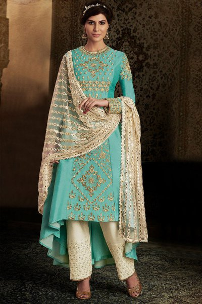 Party Wear Blue Silk A-line Suit