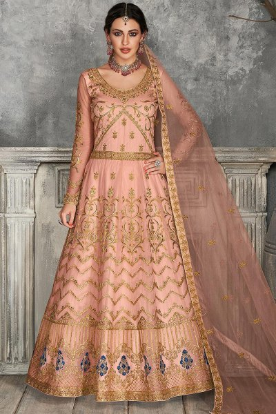 Peach Zari Embroidered Anarkali Suit
