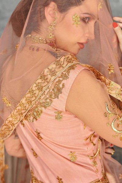Peach Zari Embroidered Anarkali Suit