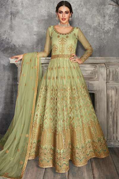Pista Green Zari Embroidered Anarkali Suit
