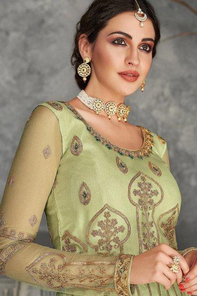 Pista Green Zari Embroidered Anarkali Suit