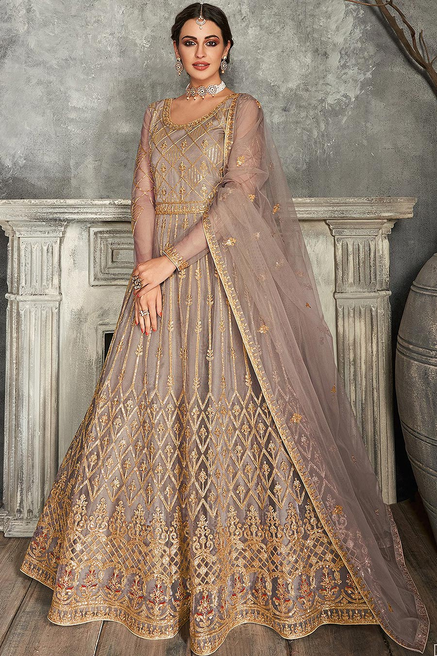 Taupe Brown Zari Embroidered Anarkali Suit