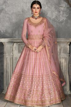 Pink Zari Embroidered Anarkali Suit