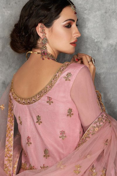Pink Zari Embroidered Anarkali Suit