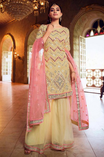 Silk Organza and Net Pale Yellow Foil Mirror Embellished Sharara Suit