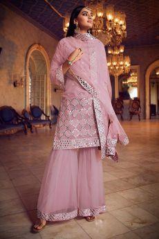 Organza Dusky Pink Foil Mirror Embellished Sharara Suit