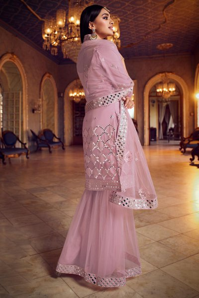 Silk Organza and Net Dusky Pink Foil Mirror Embellished Sharara Suit