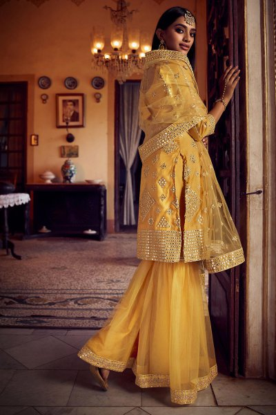 Silk Organza and Net Mustard Yellow Foil Mirror Embellished Sharara Suit