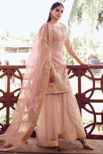 Silk Organza and Net Beige Brown Foil Mirror Embellished Sharara Suit