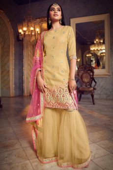 Organza Yellow Foil Mirror Embellished Sharara Suit